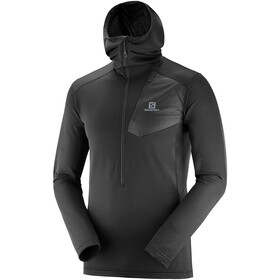 Salomon Grid Midlayer halve rits met Capuchon Heren, black